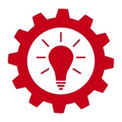 Engrenage avec une l'icône d'une ampoule représentant les idées