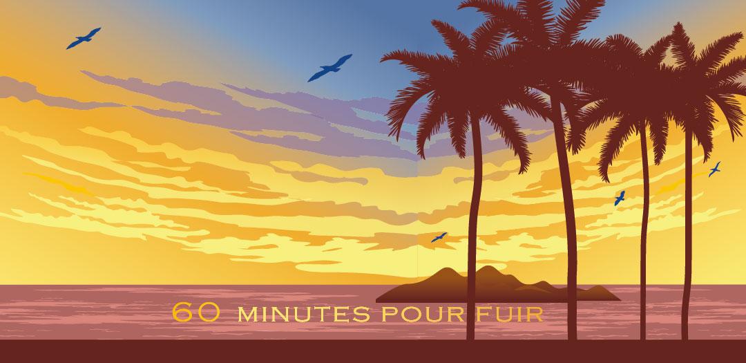 Illustration retro coloré : adieu sos avec son île paradisiaque au premier plan