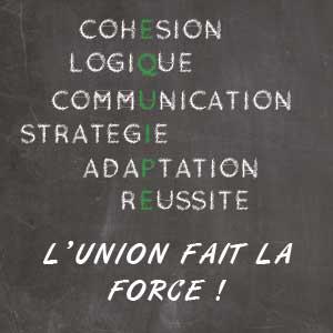 le tableau où il écrit cohésion, logique, communication, stratégie, adaptation et réussite