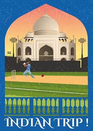 Joueur de cricket au milieu d'un milieu au pied du Taj Mahal