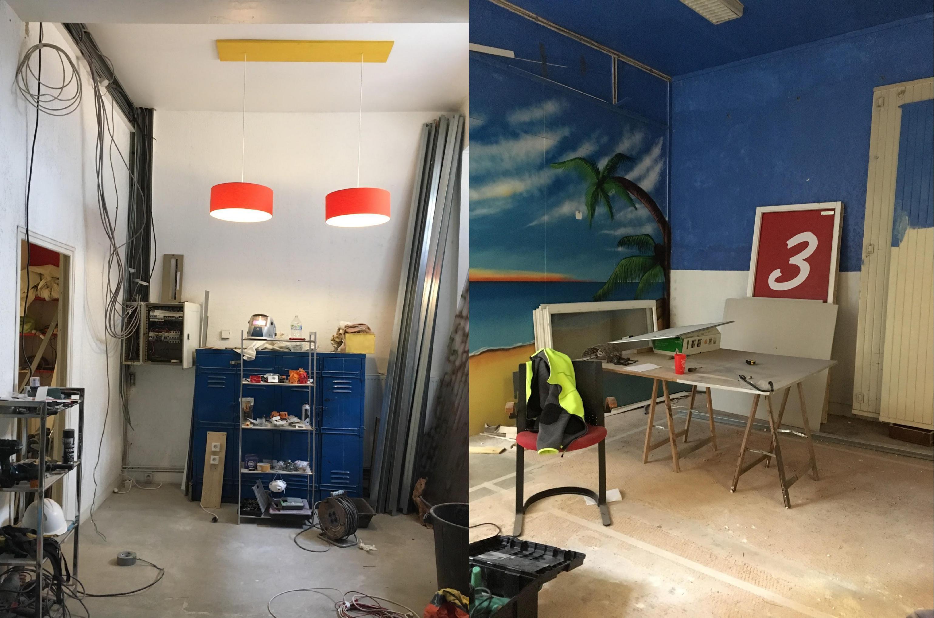 2 photos représentant les travaux de la nouvelle énigme : table et étagères avec outils,