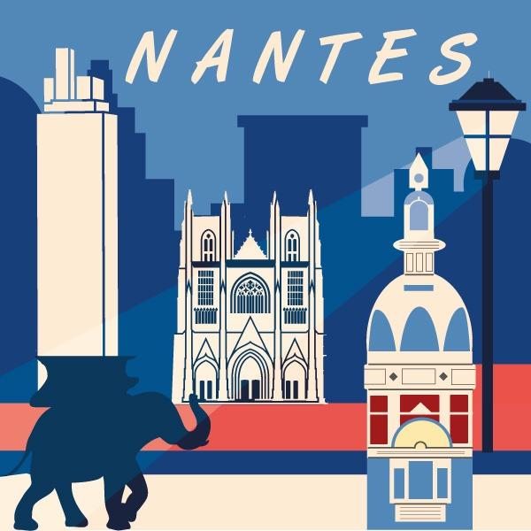 Illustration rétro de la ville Nantes avec sa tour LU, sa tour Bretagne, l'éléphant des machines de l'ile