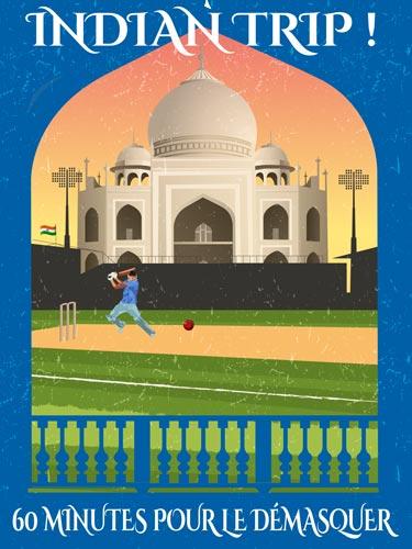 Taj Mahal au soleil couchant en fond et joueur de cricket s'entraînant au premier plan